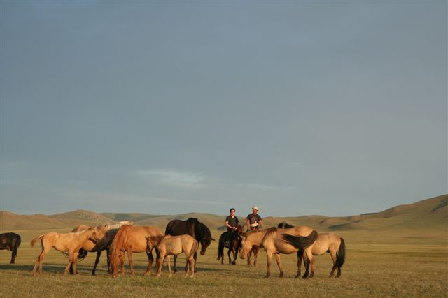 On the plains of Mongolia